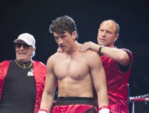 (Left to right) Ciaran Hinds, Miles Teller and Aaron Eckhart in BLEED FOR THIS. ©Open Road Films. CR: Seacia Pavao.