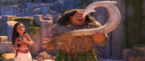 """(l-r) Moana (voiced by Auli'i Cravalho) and Maui (voiced by Dwayne """"the Rock"""" Johnson) in MOANA. ©2016 Disney. All Rights Reserved."""